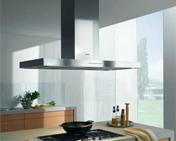 Stainless steel kitchen island hood from Miele.