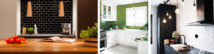 Bold colours on subway tiles can make a dramatic impact oak kitchens.