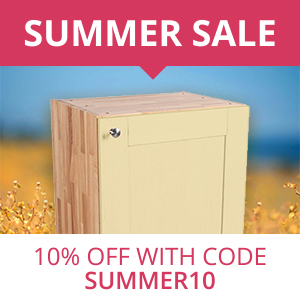 Save 10% on Solid Oak Kitchen Cabinets & Accessories in our Summer Sale