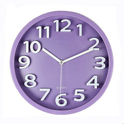 A purple clock with white hands and numbers