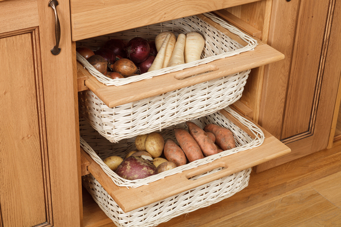 Savvy Storage Solutions For Solid Wood Kitchens Solid Wood Wicker Baskets