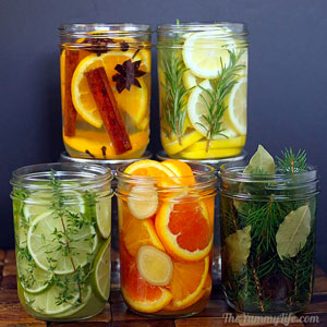 Jars of sliced fruit, herbs and spices make easy and natural air fresheners.